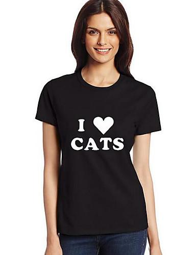 Women's Casual Cotton T-shirt - Letter