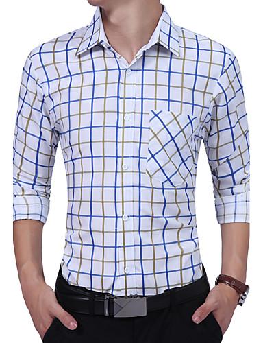 Bomull Rayon Tynn Langermet,Skjortekrage Skjorte Geometrisk Fargeblokk Alle årstider Vintage Fritid Daglig Arbeid Herre