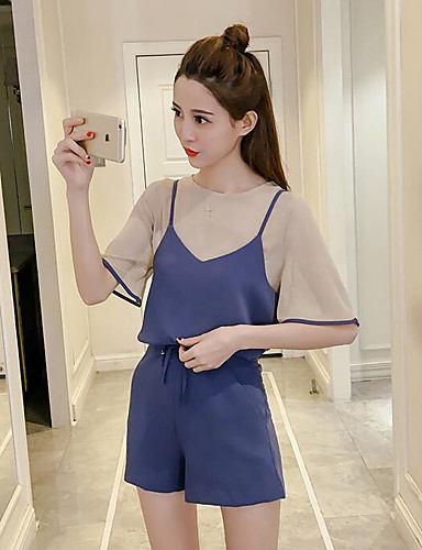Women's Daily Going out Casual Summer Blouse Pant Suits,Solid Crew Neck Half Sleeve 100% Cotton Micro-elastic
