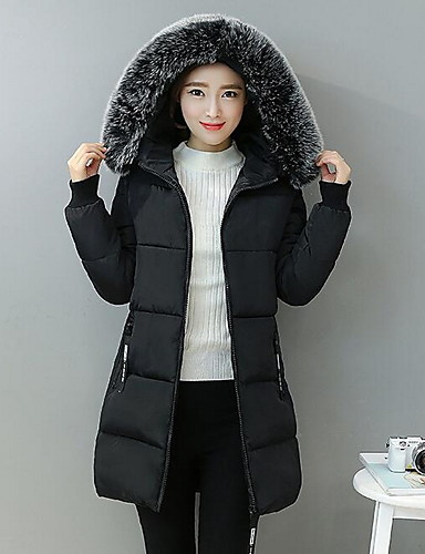 Women's Long Padded Coat,Casual Daily Solid-Cotton Polypropylene Long Sleeves