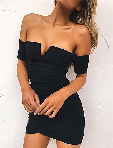 Women's A Line Dress - Solid Colored Black V Neck / Sexy / Skinny