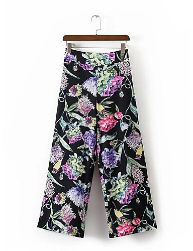 Women's Mid Rise Micro-elastic Wide Leg Pants,Street chic Floral Cotton Summer