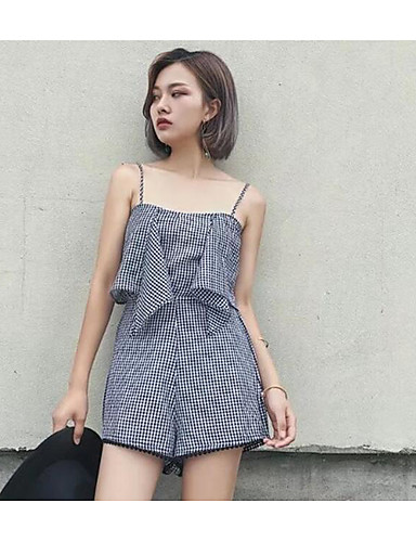 Women's Daily Casual Cute Solid Striped Floral Strap Rompers