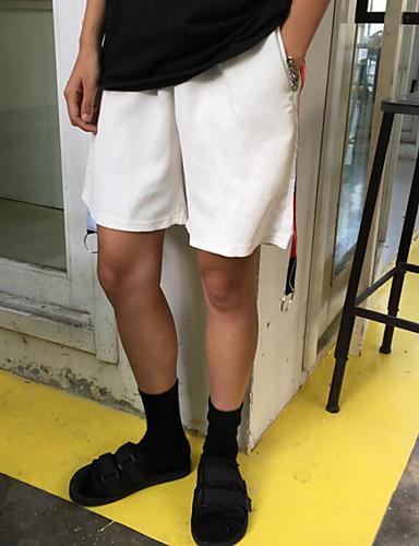 Herre Enkel Mikroelastisk Shorts Bukser,Rett Mellomhøyt liv Ensfarget