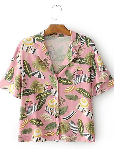 Rayon Kortermet,Skjortekrage Skjorte Trykt mønster Sommer Vintage Gatemote Fritid/hverdag Ut på byen Dame