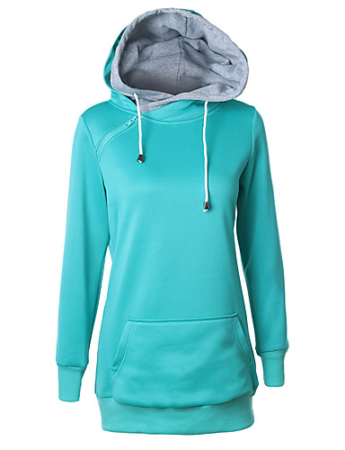Women's Daily Sports Hoodie Solid Hooded Micro-elastic Cotton Long Sleeve Fall