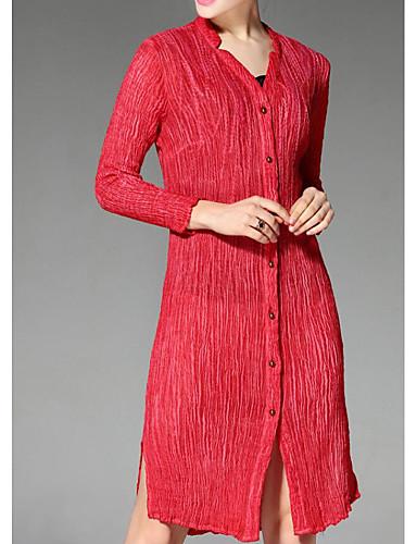 Bomull V-hals Skjorte Dame - Ensfarget / Stripet Enkel