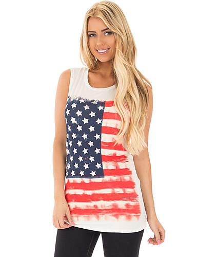 Polyester Spandex T-skjorte - Stripet Dame