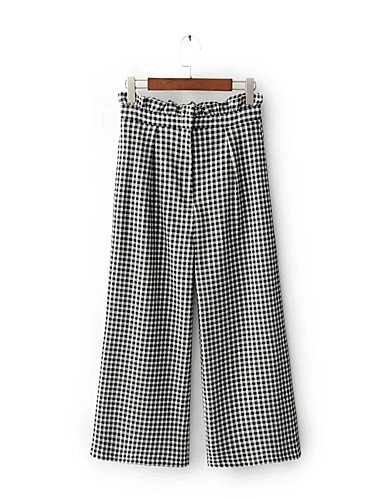 Women's Mid Rise Micro-elastic Straight Loose Wide Leg Chinos Pants,Street chic Check Cotton Summer