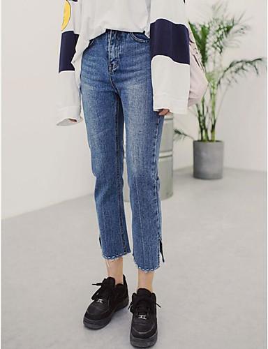 Dame Enkel Mikroelastisk Jeans Bukser,Løstsittende Høyt liv Ensfarget
