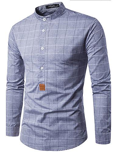 Men's Daily Casual Shirt,Print Shirt Collar Long Sleeves Cotton