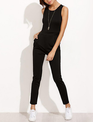 Women's Daily / Beach Street chic Black Jumpsuit, Fashion Pure Color L XL XXL Sleeveless Summer