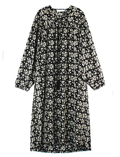 Women's Daily Casual Loose Dress,Floral Deep U Midi Long Sleeves Polester/Cotton Blend Summer High Rise Micro-elastic Thin