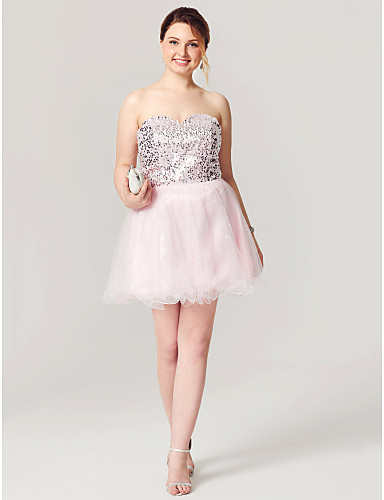 A-Line Fit & Flare Sweetheart Short / Mini Tulle Sequined Cocktail Party / Homecoming / Prom Dress with Sequin Pleats by TS Couture®