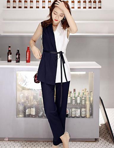 Uelastisk Ermeløs,V-hals T-skjorte Bukse Drakter Fargeblokk Sommer Moderne Daglig Avslappet Dame