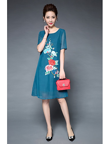 Women's Vintage Chinoiserie Loose Dress - Embroidered Flower