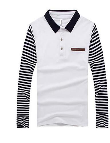 Men's Simple T-shirt - Striped Print Shirt Collar / Long Sleeve