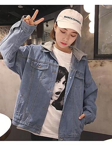 Women's Daily Cowboy Spring/Fall Denim Jacket,Quotes & Sayings Shirt Collar Long Sleeve Short Denim