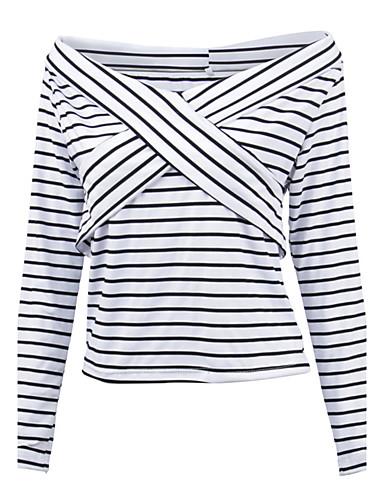 Bomull Langermet,V-hals T-skjorte Stripet Vår Høst Sexy Sport Ferie Ut på byen Fritid/hverdag Dame
