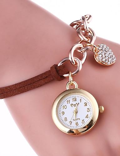 Mulheres Bracele Relógio Chinês Quartzo Venda imperdível Couro Banda Amuleto Casual Preta Branco Azul Vermelho Marrom Verde Rosa Amarelo