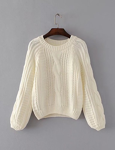 Women's Going out Street chic Long Sleeves Pullover - Solid Colored