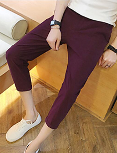 Men's Mid Rise Micro-elastic Harem Bootcut Pants,Simple Straight Pure Color Solid