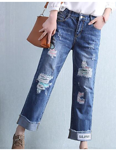 Women's High Rise Micro-elastic Slim Jeans Chinos Pants,Simple Solid Summer