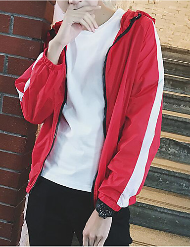 Men's Daily Casual Contemporary Summer Jacket,Solid Hooded Long Sleeve Regular Polyester