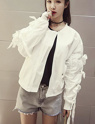 Women's Daily Modern/Contemporary Spring Jacket,Solid Round Neck Long Sleeve Short Cotton Others