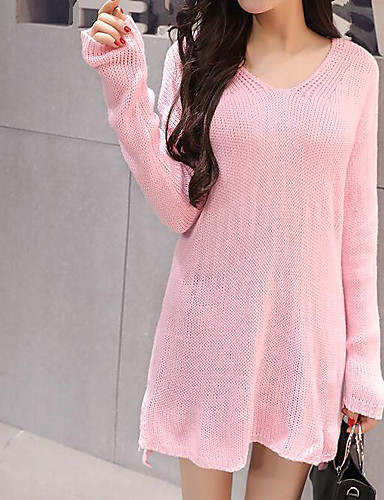Women's Daily Casual Long Pullover,Solid V Neck Long Sleeves Others Spring Medium Stretchy