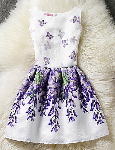 Women's Cotton A Line Dress - Floral Print