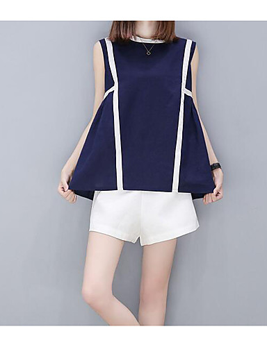 Women's Daily Casual Casual Summer T-shirt Pant Suits,Striped Round Neck Sleeveless Fabric Inelastic