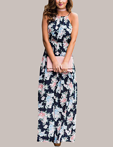 Women's Daily Sophisticated Loose Dress,Floral Strap Maxi Short Sleeves Polyester Summer Mid Rise Micro-elastic Medium