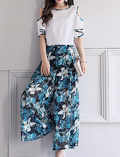 Women's Daily Modern/Contemporary Spring T-shirt Pant Suits,Floral Print Bateau Half Sleeve Chiffon