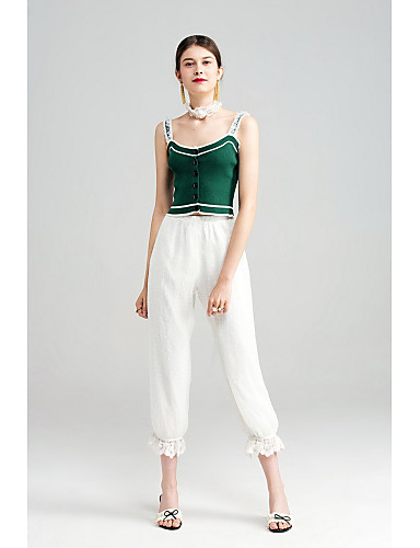Women's Mid Rise Micro-elastic Loose Chinos Pants,Simple Loose Chiffon Solid