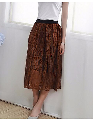 Women's Holiday Midi Skirts A Line Solid Summer
