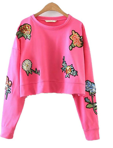 Women's Going out Daily Sexy Street chic Sweatshirt Print Round Neck Micro-elastic Cotton Long Sleeve Summer