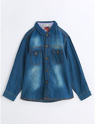 Boys' Solid Shirt,Cotton Spring Fall Long Sleeve