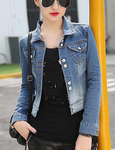 Women's Daily Modern/Comtemporary Summer Denim Jacket,Solid Shirt Collar Long Sleeve Short Cotton Others