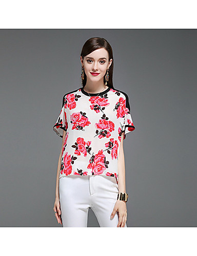 CELINEIA Women's Daily Boho T-shirt,Floral Round Neck Short Sleeves Silk Cotton