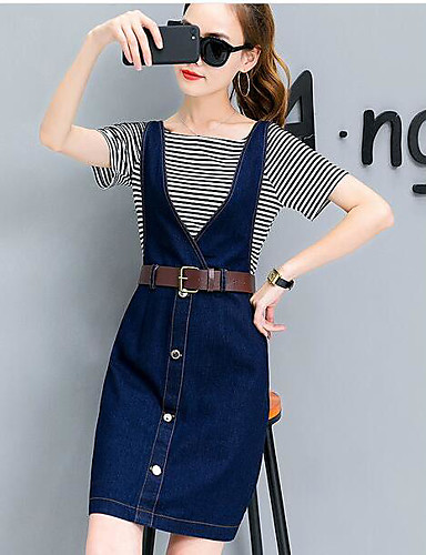 Women's Daily Fashion Summer T-shirt Skirt Suits,Solid Striped Round Neck Short Sleeve Cotton
