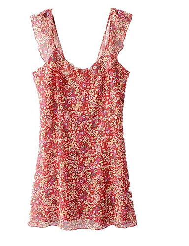 Women's Casual/Daily Street chic Loose Mini Dress,Floral Strap Sleeveless Summer