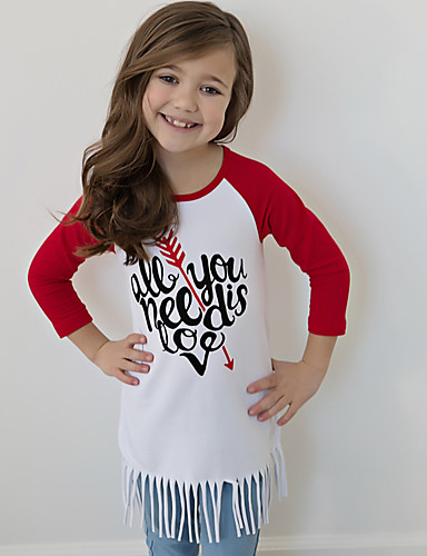 Girls' Print Long Sleeves Cotton Tee
