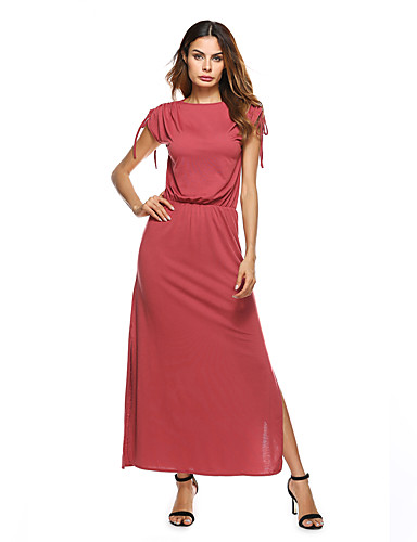 Women's Casual Street chic Sheath Dress - Solid Colored Maxi Boat Neck