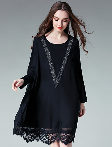 Women's Party Going out Cute Loose Chiffon Dress,Print Round Neck Midi Long Sleeves Polyester Fall High Rise Inelastic Thin