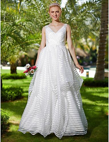 Linha A Decote V Longo Organza Vestidos de noiva personalizados com Laço(s) Caixilhos / Fitas de LAN TING BRIDE®