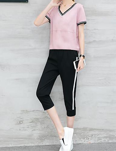 Mikroelastisk Kortermet,V-hals T-skjorte Bukse Drakter Ensfarget Stripet Fargeblokk Vår Sommer Fritid Fritid/hverdag Dame