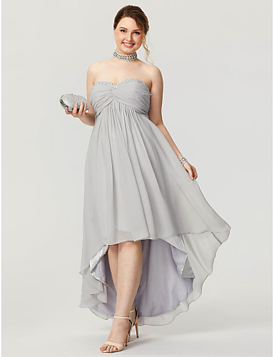 A-Line Sweetheart Neckline Asymmetrical Chiffon High Low Prom Dress with Beading / Ruched by TS Couture®