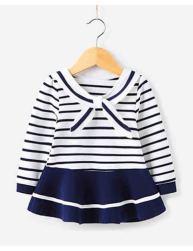 Girl's Striped Dress Long Sleeve