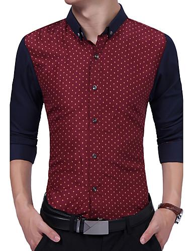 Men's Daily Work Plus Size Vintage Casual All Seasons Shirt,Polka Dot Color Block Shirt Collar Long Sleeves Cotton Rayon Thick